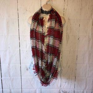 Red plaid fringe infinity scarf